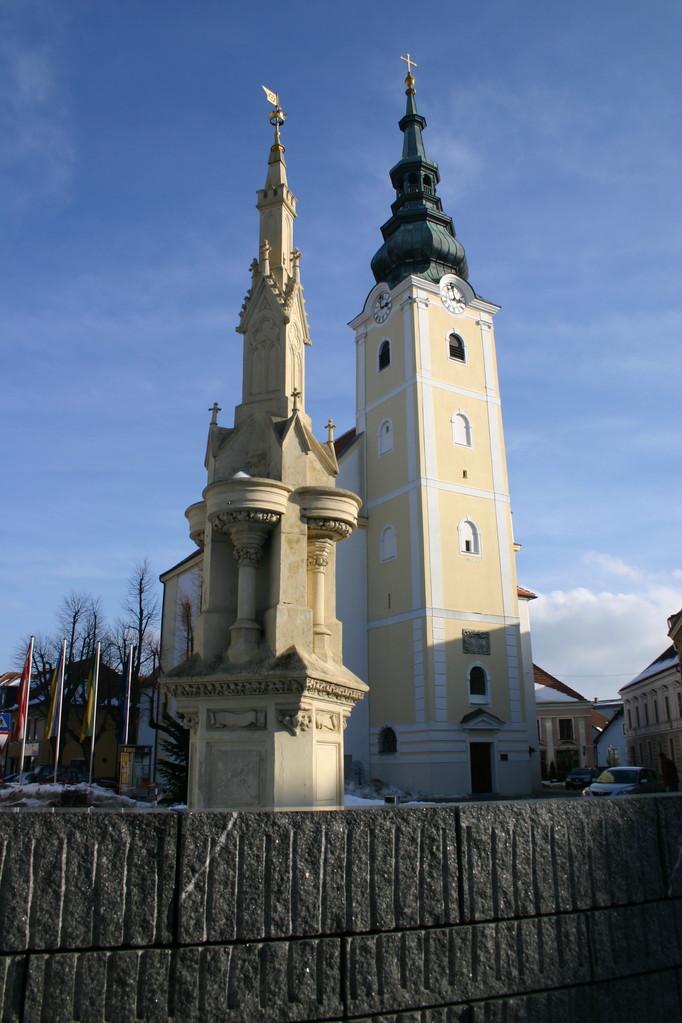 Der Stadtplatz von Gföhl hatte einen Brunnenkranz, der undicht war...