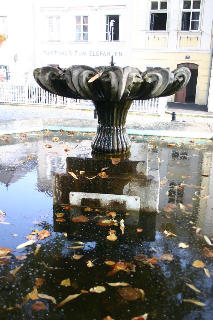 ...ein kleiner Springbrunnen krönt die Brunnensäule, und der Wasserstand...