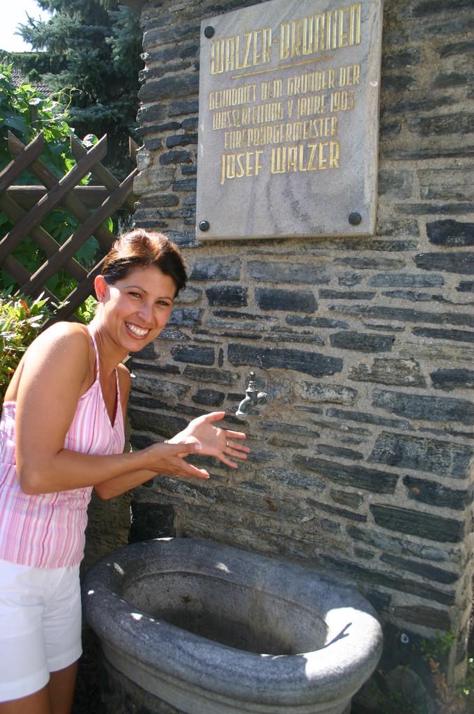 Im Ortsteil Gneixendorf erinnert ein Brunnen an den ehem. Bürgermeister Josef Walzer.