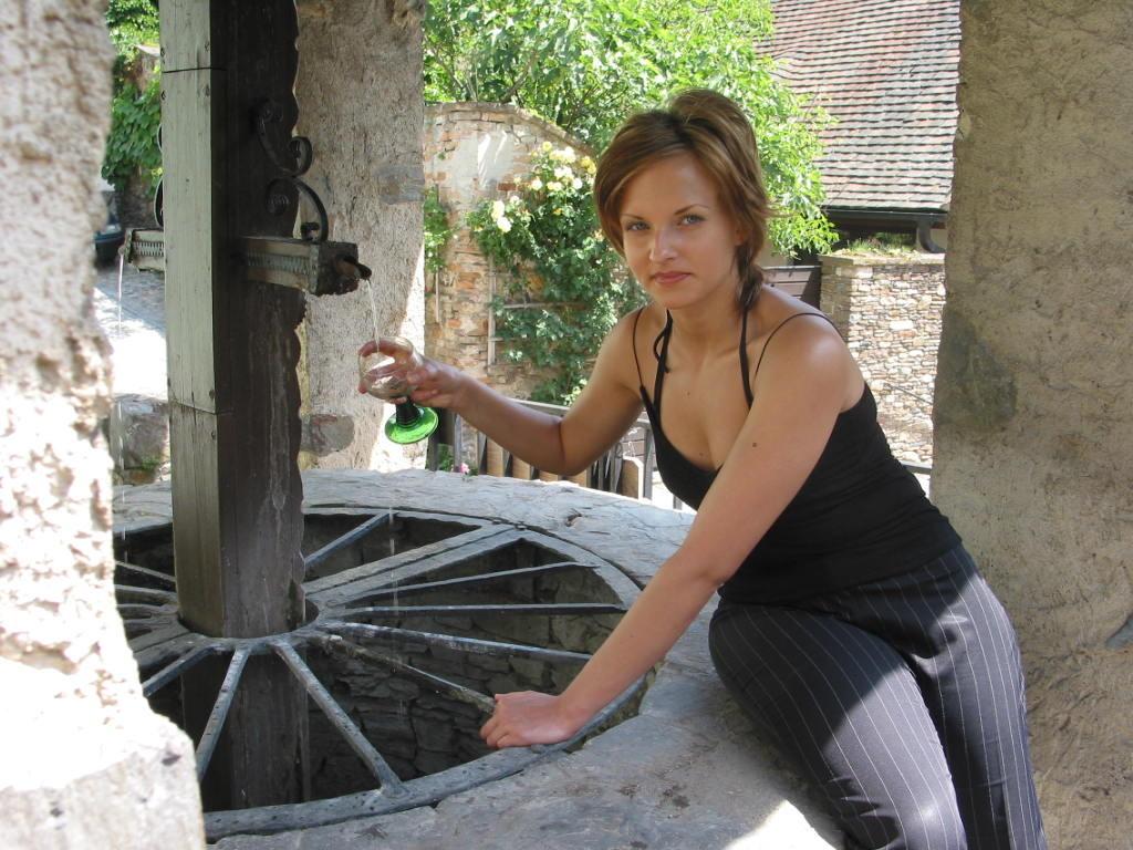 ...bis 1968 der neue Brunnenkranz mit Überdachung und Fließwasser gebaut wurde..