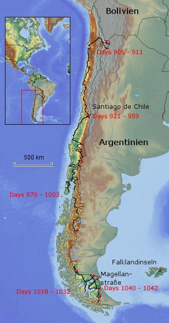 Übersichtskarte von Chile