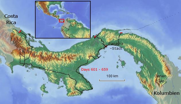 Übersichtskarte von Panama