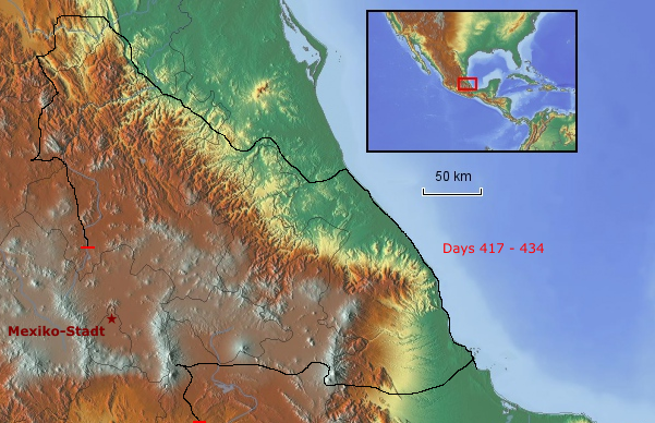 Route zentrale Atlantikküste bis Puebla