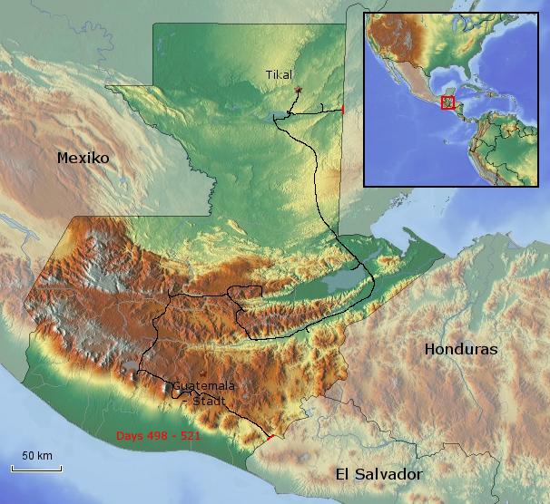 Übersichtskarte von Guatemala