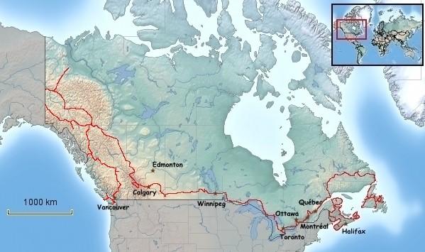 Übersichtskarte von Kanada