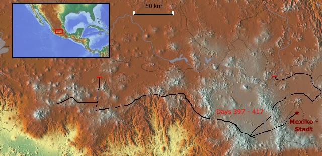 Route Mexiko-Stadt und Umgebung