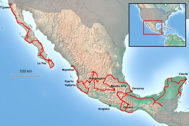 Übersichtskarte von Mexiko