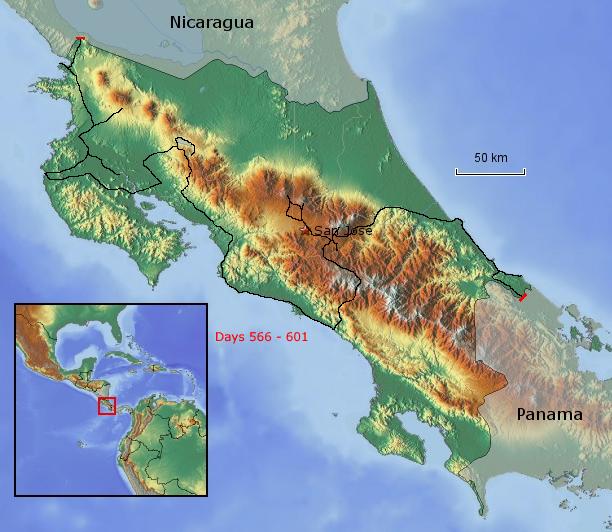 Übersichtskarte von Costa Rica