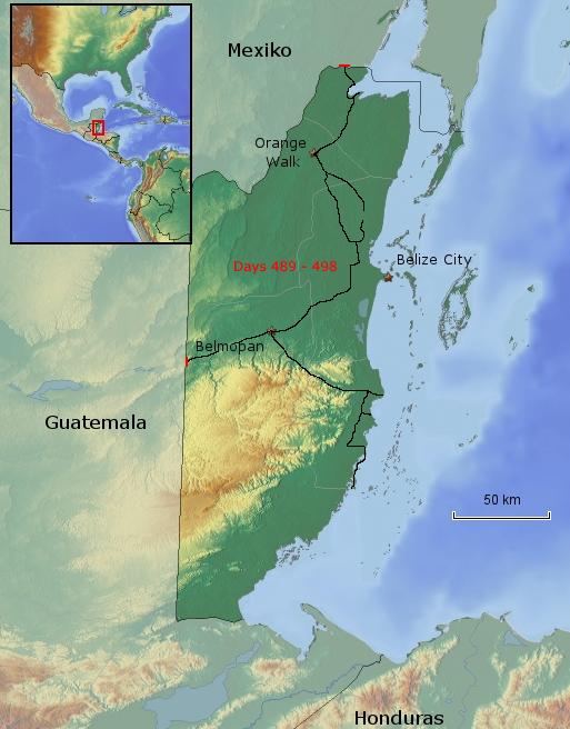 Übersichtskarte von Belize
