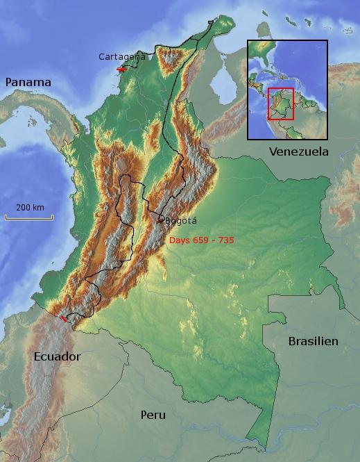 Übersichtskarte von Kolumbien