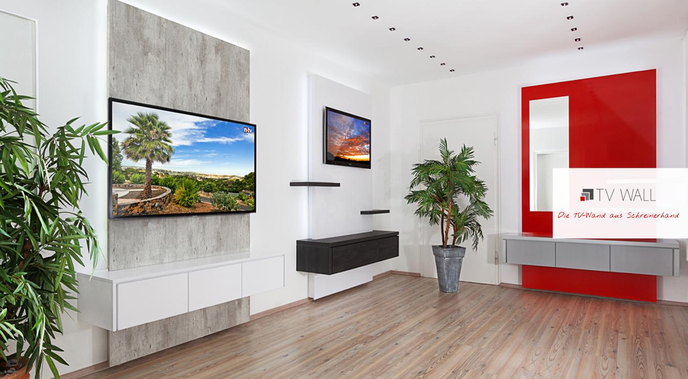ausstellung tv wall die tv wand aus schreinerhand. Black Bedroom Furniture Sets. Home Design Ideas