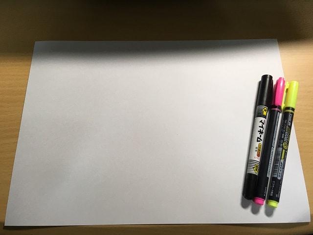 マインドマップを作成するのに必要なモノ(紙とペンと蛍光ペン)