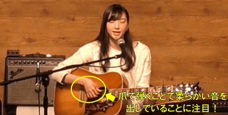 フォークギターを爪で演奏していることを示す画像