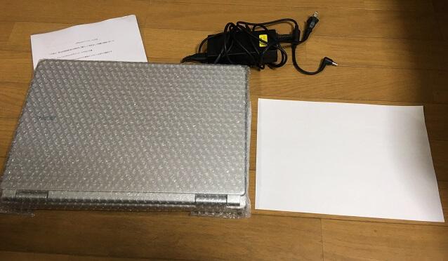 ワジュンPCから届いたノートパソコンと電源コード