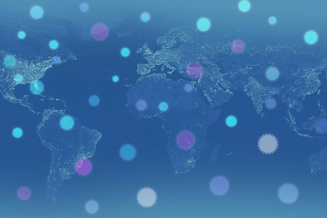 ウイルスが広がる世界地図