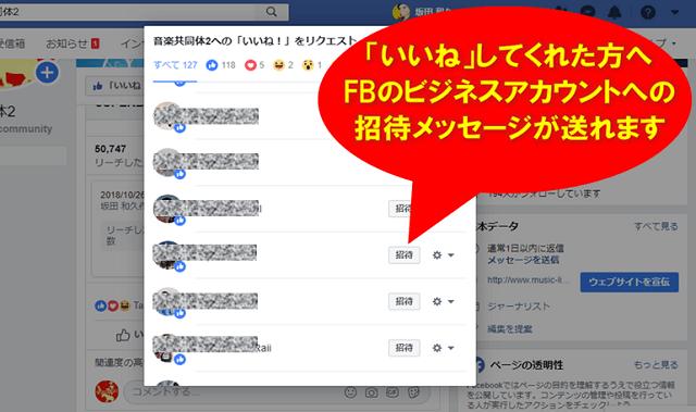 facebookのビジネス用アカウントで招待メッセージを送る相手を選択している画面
