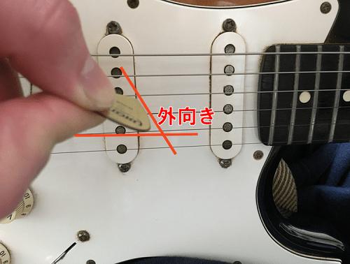 ギターのピッキングの角度が外向きの状態