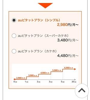 auホームページにあるピタットプランの種類が表示されている画面