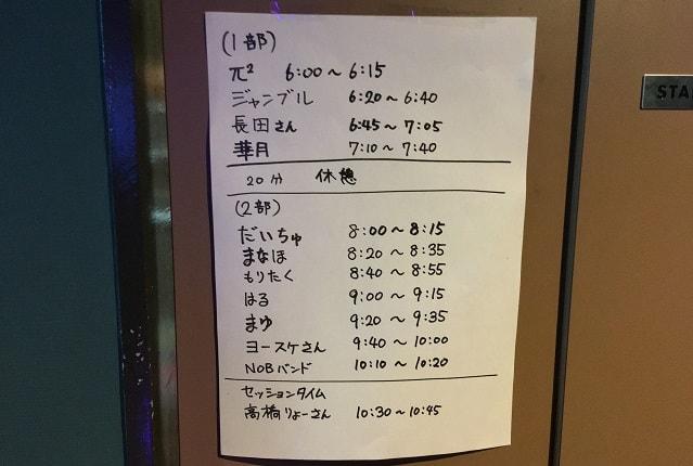 ブライアン細田のバースデーライブのセットリスト表