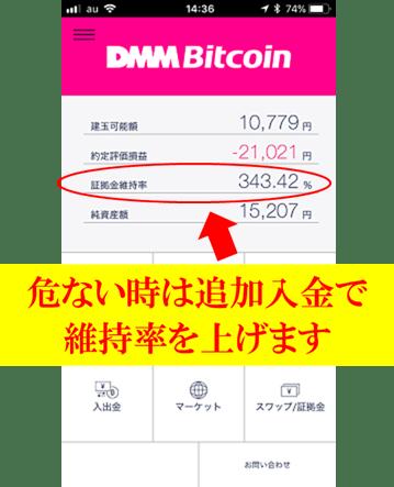 DMMビットコインの証拠金維持率の説明をしている画像