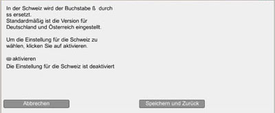 Aktivierung der s-Schreibung für die Schweiz