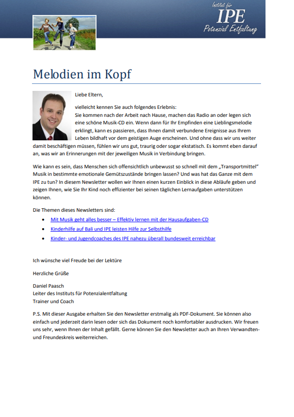 "ERSTER THEMENLETTER - Mai 2012 ""Melodien im Kopf"""