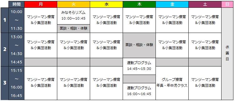 みなそら川崎にし園のプログラムスケジュール写真