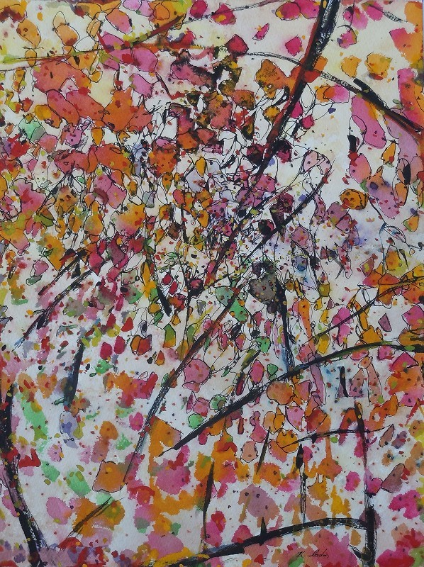"""Leaves and Branches: Fall Vines"",2013, ink and gouache on watercolor paper, 16x 12"