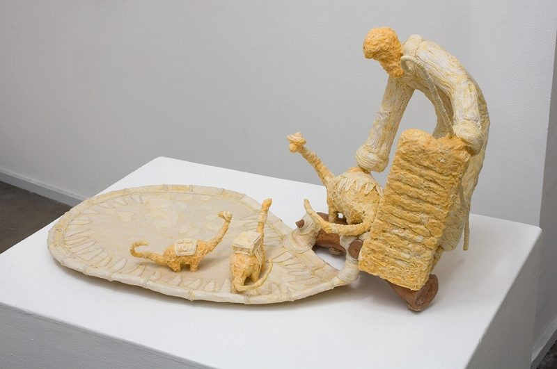 """""""Upon seeing the Commandments, Micro-dino mama has Second Thoughts"""",19""""x17""""x31"""", 2009-10, (mix media with cotton fiber, cloth and cherry branch) price-$1,700 (includes sculpture)"""