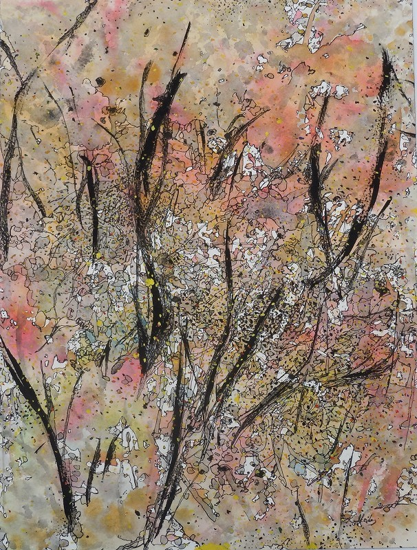 """Leaves and Branches: Spring Flowering"",2012, ink and gouache on watercolor paper, 16x 12"