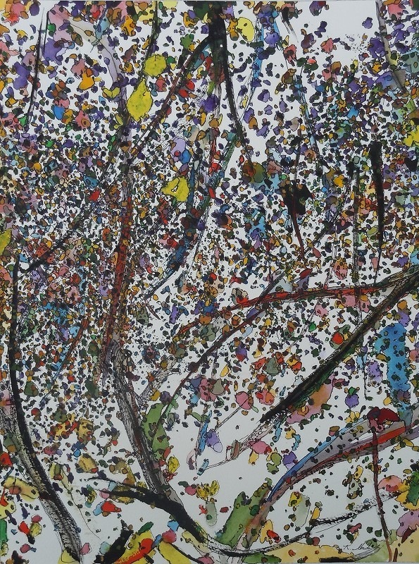 """""""Leaves and Branches: Spring Growth"""",2013, ink and gouache on watercolor paper, 16x 12"""