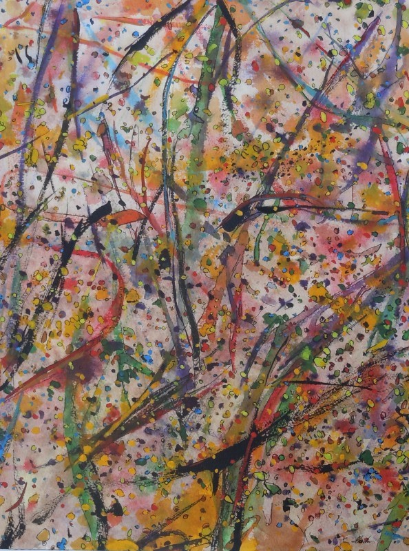 """""""Leaves and Branches: Early Evening Summer Breeze"""",2013, ink and gouache on watercolor paper, 16x 12"""