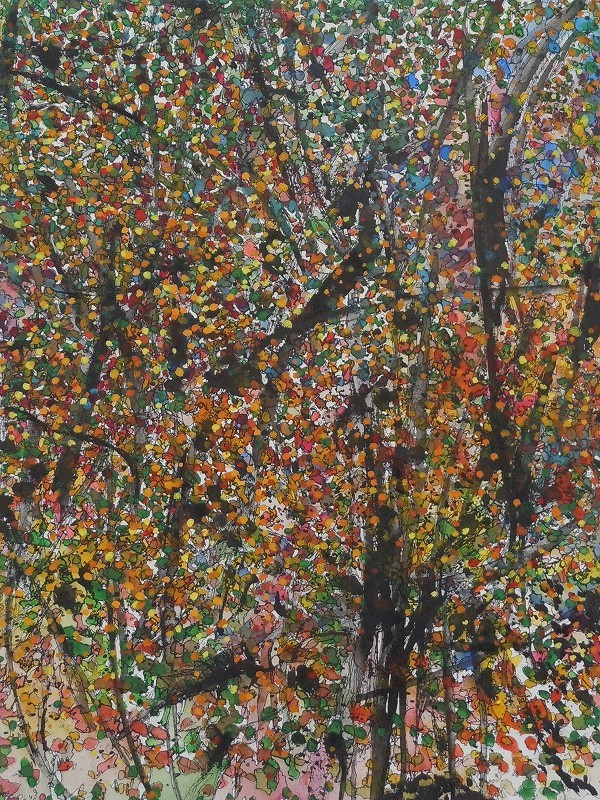 """""""Leaves and Branches: Morning Arises, Indian Summer"""",2012, ink and gouache on watercolor paper, 16x 12"""", available framed $600"""