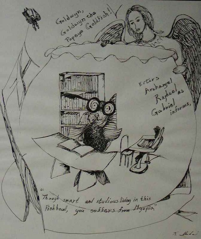 """Empathy, Not Books Heal Myopia"",drawing part ( ink on paper)"