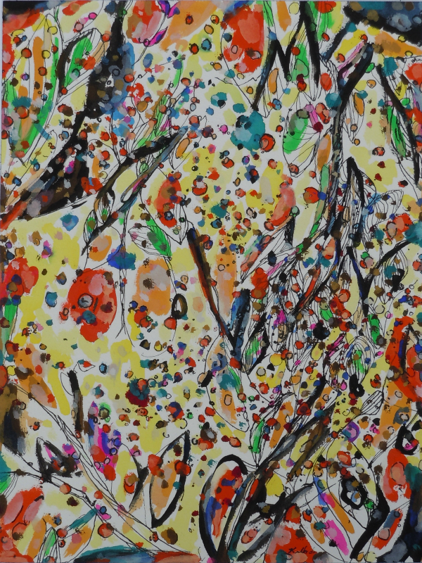 """""""Leaves and Branches; Persimmons and Wild Grapes; Sept. 2015, ink and gouache on watercolor paper, 16x 12"""