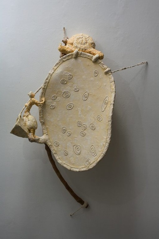 """Hunting for the Giant Snail"", 50""x38""x13"", 2009-2010, (mix media including cotton fiber,cloth and cherry branch), price $1,700 (includes story and drawing as well as this sculpture)cie"