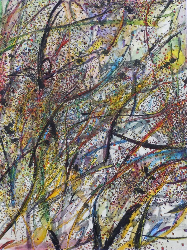 """Leaves and Branches: Windy, Rainy  Spring"",2012, ink and gouache on watercolor paper, 16x 12"