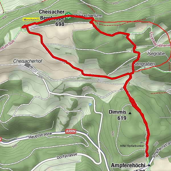 Route zum Cheisacher Turm & retour Ampflerehöchi