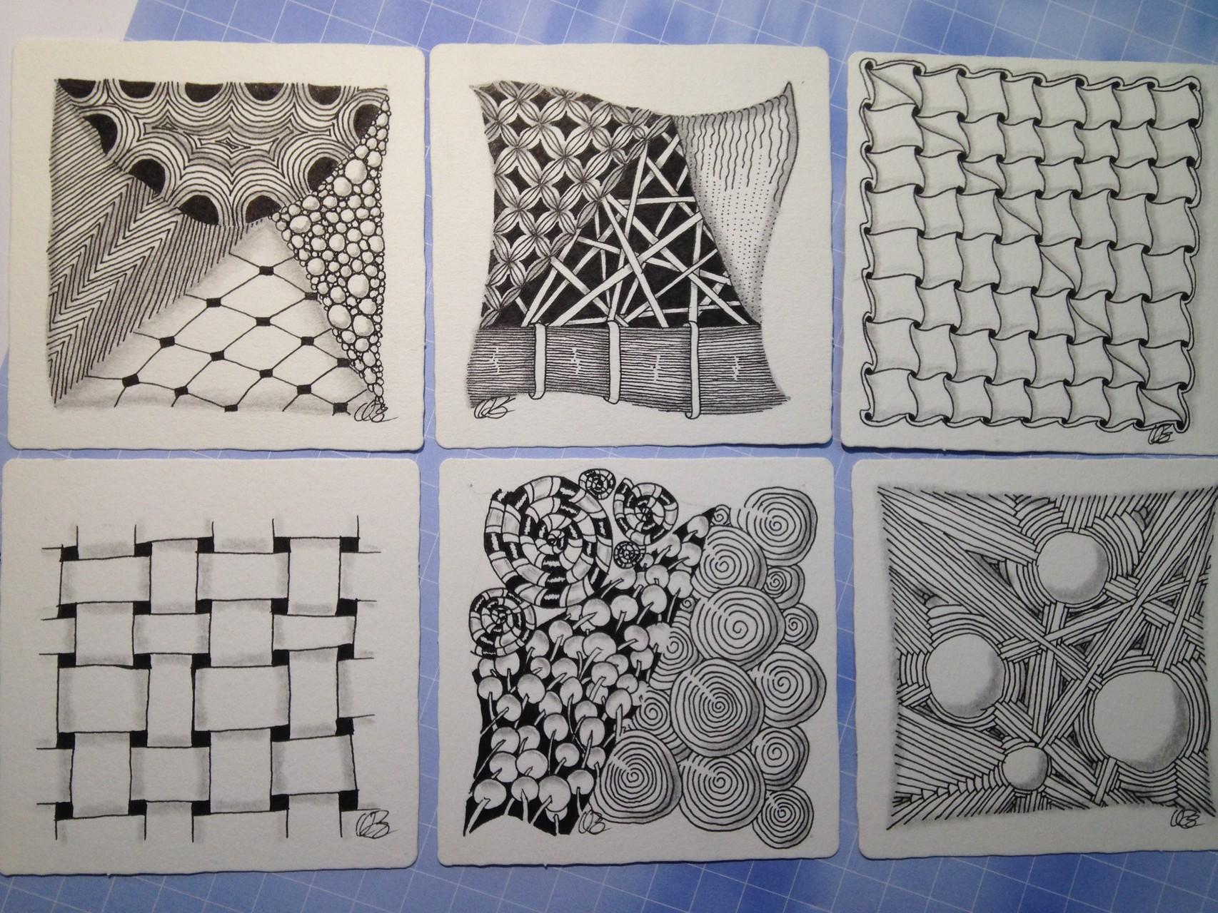 die Ergebnisse aus meinem eigenen Zentangle Kurs bei Diana Linsse