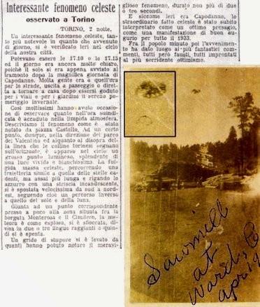 """Articolo del """"Secolo d'Italia"""" del 2 gennaio 1933 su di uno strano oggetto nei cieli di Torino"""