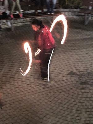 Lichtshow bei der Jahresabschlussfeier