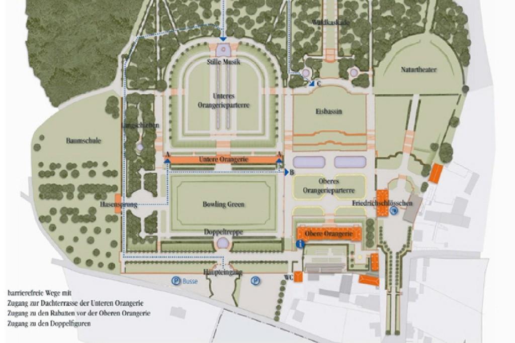 Lageplan vom Barockgarten Großsedlitz und Bezeichnungen