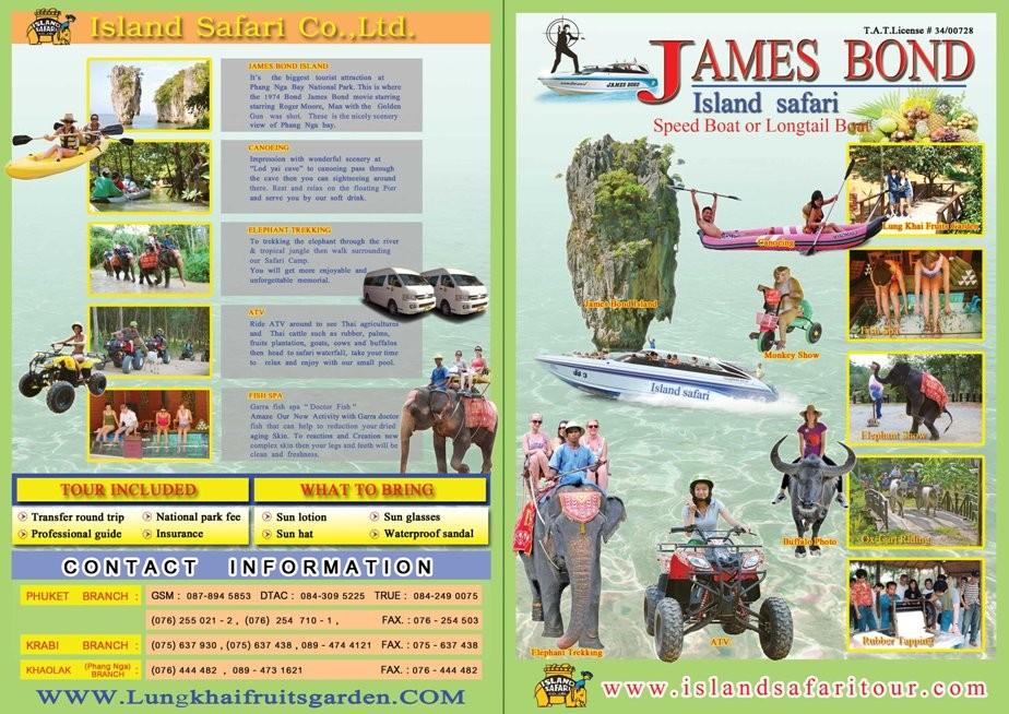 Dieser Flyer hatte uns dazu animiert die Eintagestour in den Phang Nga Nationalpark inkl. James Bond Felsen und andere Extras zu buchen. Für ganze 1200 Baht/31 € zum Tageskurs, wahrlich ein Schnäppchen!