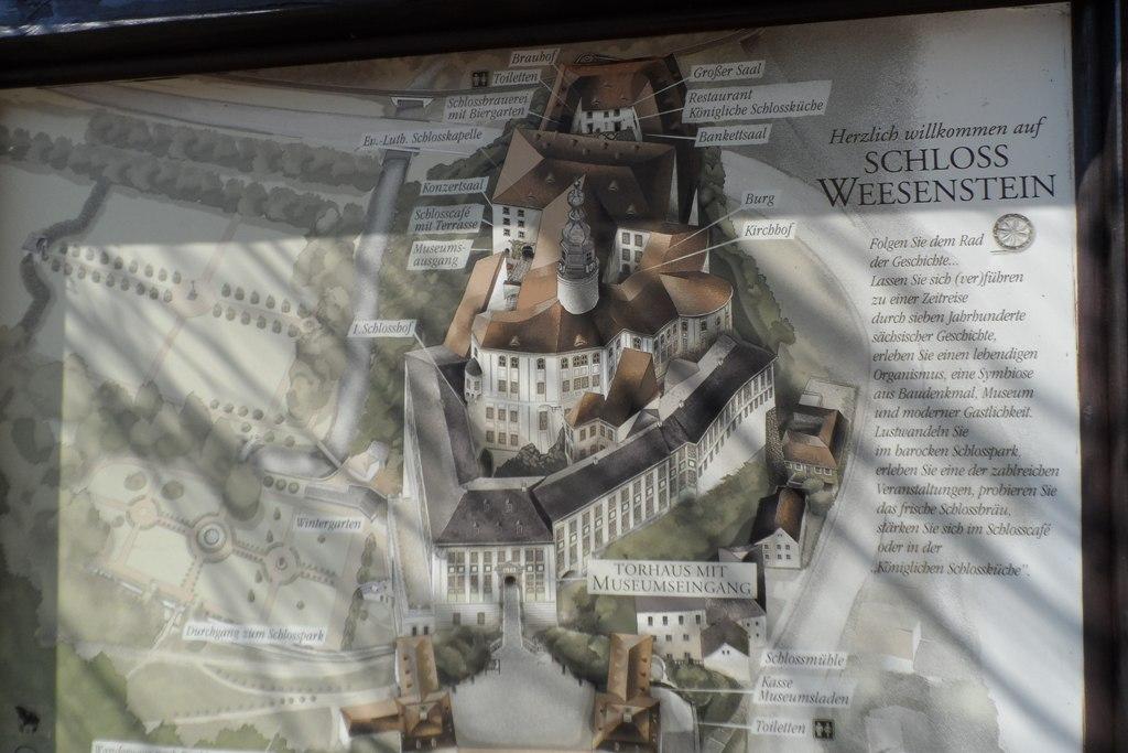 Lageplan der Burg Weesenstein, einst Sitz des sächsischen Adelsgeschlechts von Bünau