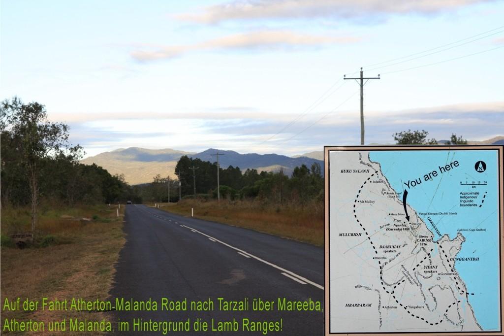 Auf der Fahrt von Cairns auf dem Kennedy HWY nach Atherton und Malada nach Tarzali.