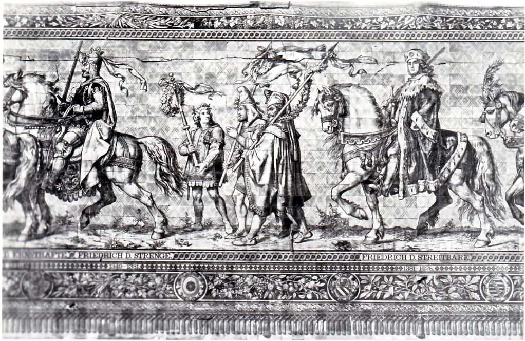 Historisches Wandbild, Meißner Kachelmalerei - Fürstenzug, 1324 - 1428