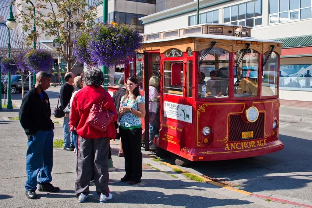 Historischer Bus für die Stadtrundfahrt von Anchorage
