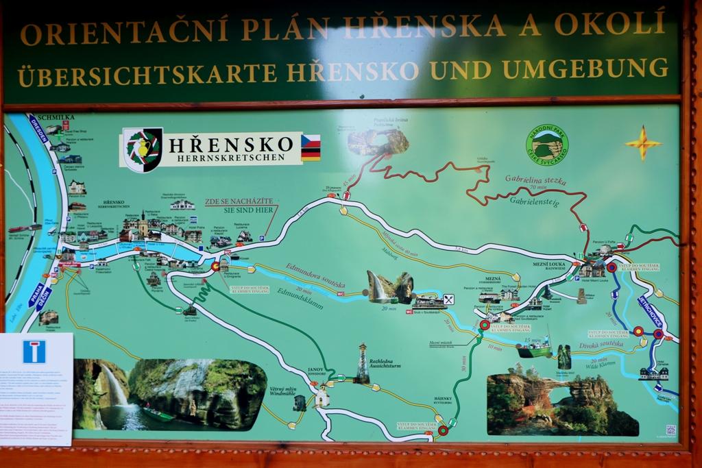 Wir stehen vor unserer heutigen Tagestour von Hrensko über Mezni Louka zum Pravčická brána und zurück
