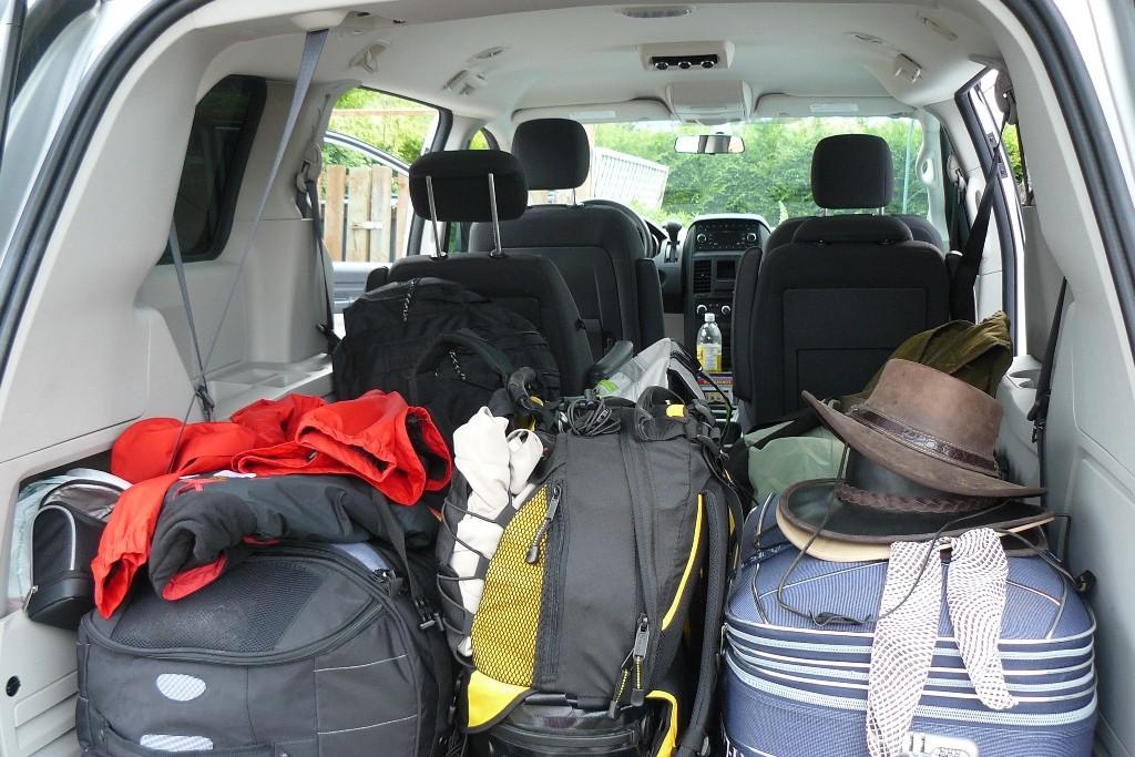 Der Stauraum unseres Dodge, wir alle vier und das Gepäck hatten ausreichen Platz