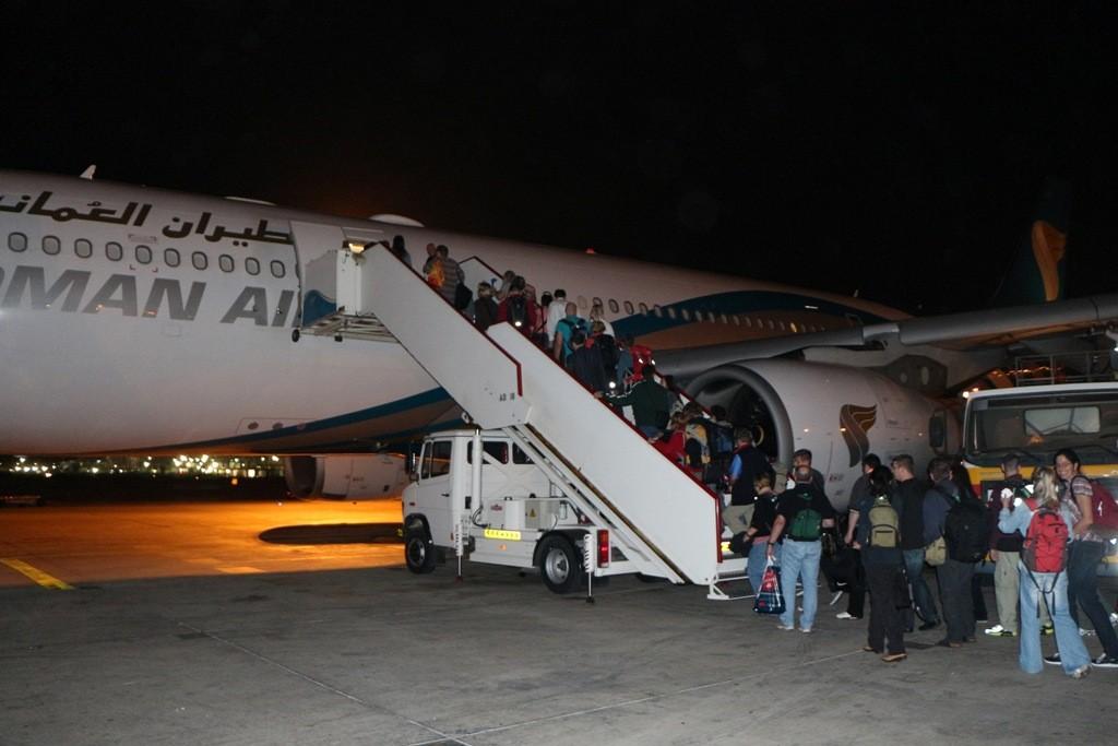 Boarding in Muscat (Oman) zum Weiterflug nach Frankfurt